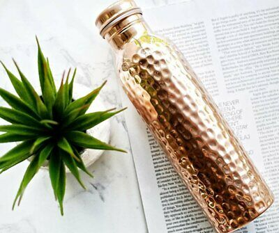 950ml Hammered 100% Pure Copper Water Bottle for Yoga Ayurveda Health Benefits