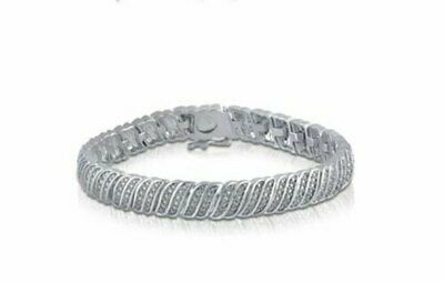 0.25Ct Natural White Round Cut Diamond Women Tennis Bracelet 925 Sterling Silver