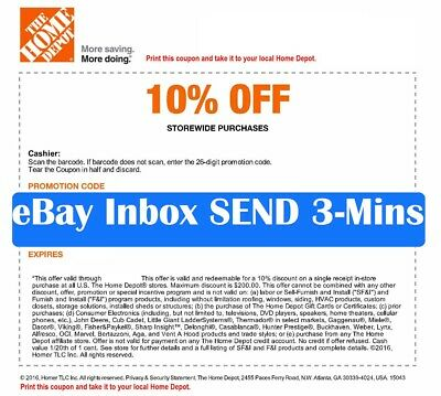 1x~ ONE Home Depot 10% OFF Coupon - Instore ONLY Save up to $200-Super-FAST-3min