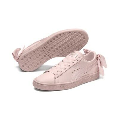 save off 43f55 c5c7c PUMA WOMENS PINK Classic BASKET BOW SNEAKERS Size 8 NIB NWT Leather Satin