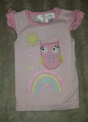 BABY GIRLS Sz 00 pink DYMPLES tank top CUTE! OWL! RAINBOW!