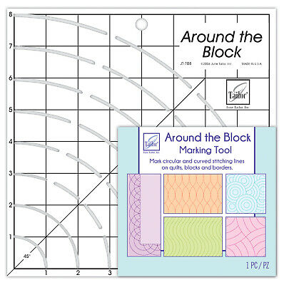 June Tailor 8 x 8-inch Around The Block Ruler for Patchwork and Quilting