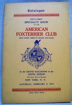 American Fox Terrier Dog Club Yearbook & Catalog February 1935 Vintage Dogshow