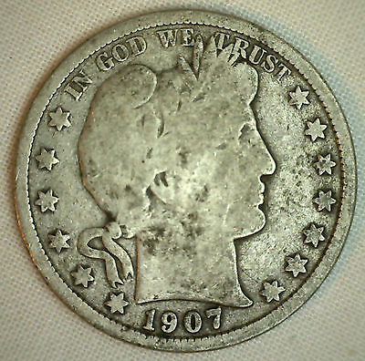 1907 D Barber Half Dollar Silver Type Coin Fifty Cents 50c Good Denver