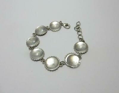 Silver bracelet blank setting with 16 mm round glass cabochons jewellery making