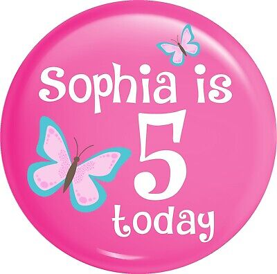 Personalised Butterfly Birthday Pink Style Happy Birthday Metal Pin Badge