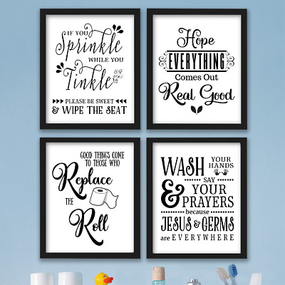 Funny Bathroom Wall Art Prints Farmhouse Decor Quotes Signs Pictures Gag Gift 9 99 Picclick