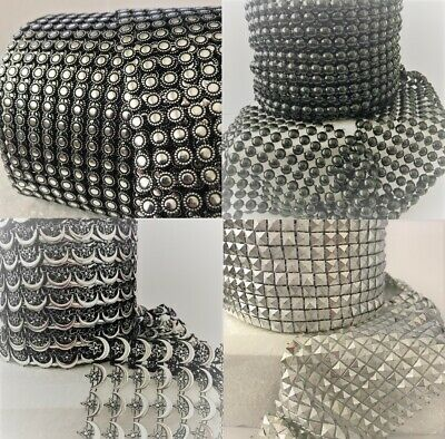 RIBBON SPARKLY Sugarcraft Cake decorating Card craft mesh silver pearls black