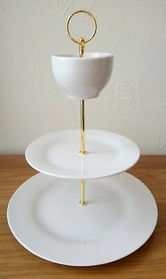 Brand new white 3 tier/layer ceramic bowl topper cake stand for afternoon tea