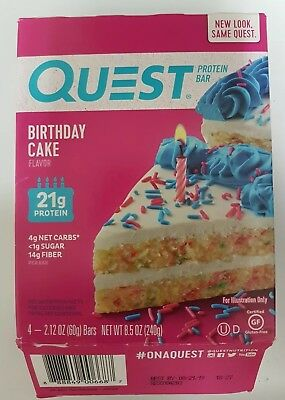 Quest QuestBar Birthday Cake Bars 21g Protein 4 bars Best By 8/19