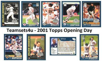 2001 Topps Opening Day Baseball Set ** Pick Team ** See Checklist in Description