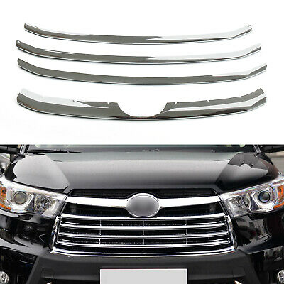 New 4 PCS Chrome Front Grill Grille Cover Trim For Toyota Highlander 15-16