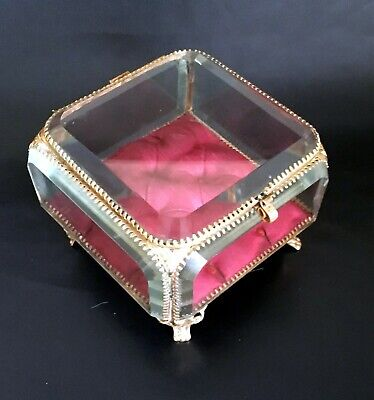 Large French Antique Nap III Bevelled Glass & Brass Trinket/Jewellery Box