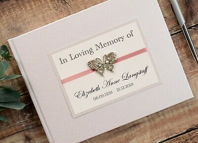 Personalised Book Of Condolence. Butterfly In Loving Memory Book. Happy Memories