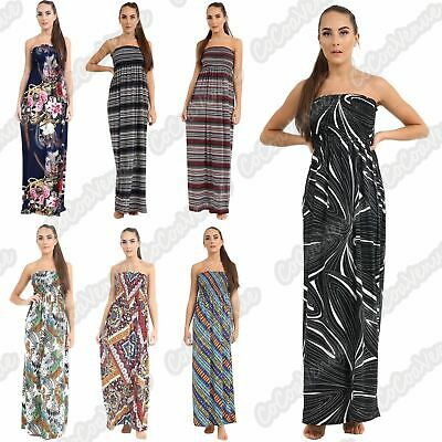 Ladies Printed Ruched Boobtube Bandeau Strapless Sheering Summer Long Maxi Dress