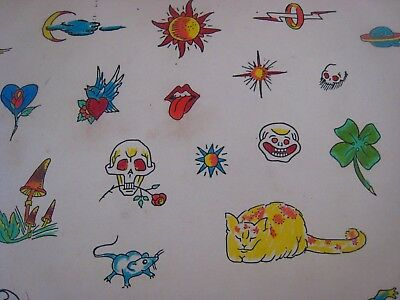 Vintage Tattoo Flash....' Skull,cat,mouse '... Hand colored, 11'' x 14 ''