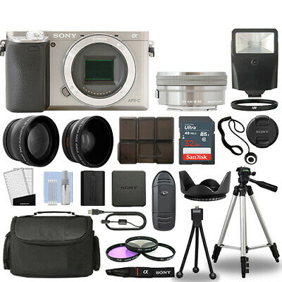 Sony Alpha a6000 Camera Body Silver+ 3 Lens Kit 16-50mm OSS+ 32GB + Flash & More
