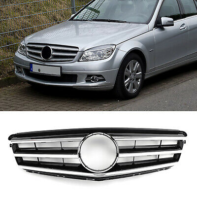 Front Grill Grille With Logo For Benz C Class W204 C300 C350 C250 08-2014 Black