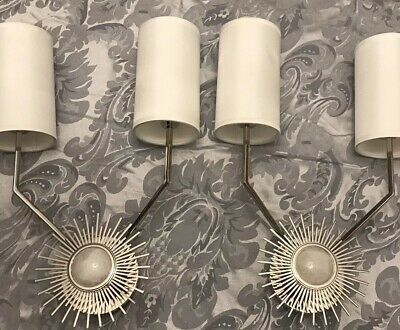 Pair Of Large Modern 2 Lights Wall Sconces Polished Nickel With Withe Shades