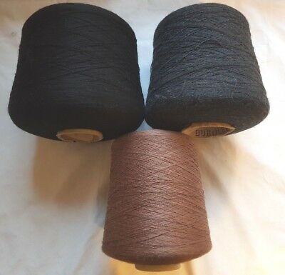 Brother Silver Reed Studio Knitting Machine Cone Yarn Black Bronze 2 Ply 2.9Kg