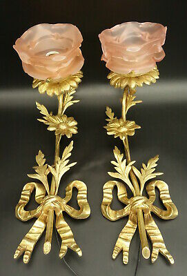 Large Pair Of Sconces, Louis Xvi Style, Early 1900 - Bronze - French Antique