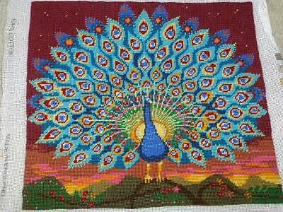 "Ehrman Peacock at Sunset-Beattie-Needlepoint Pillow/Cushion-Completed-14""x13"""