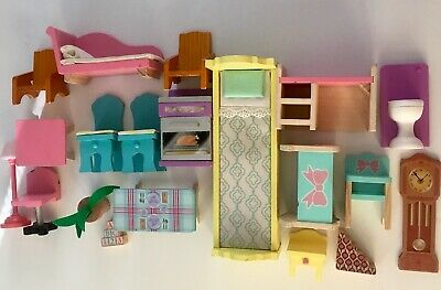Kidkraft Wooden Dollhouse Furniture Lot Doll Bedroom Kitchen Bath Living Room