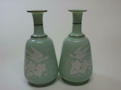 Art Nouveau Mary Gregory style Pale Green Glass Vases Birds Swallow Flowers