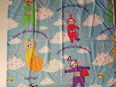Teletubbies Toddler Flat Sheet Crafts Quilting Bright Colors EUC