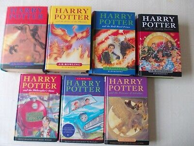 Full complete set Harry Potter hardback books 4 1st print  1st edition Rowling