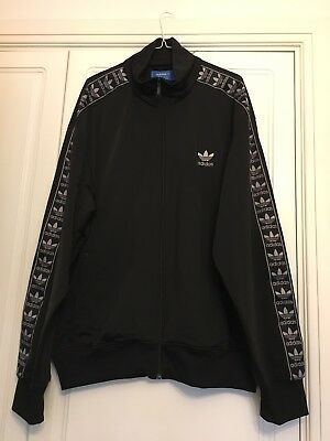 Mens Adidas Black Retro Zipped Tracksuit Top Jacket XL