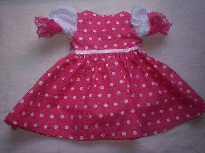 "American Made 18"" Girl Doll Clothes-White Dots on Pink Puffed Sleeve Dress"