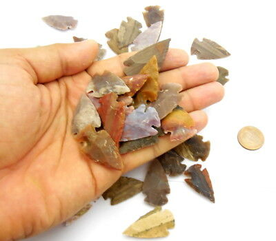 70 Pcs Lot Of Arrowheads Spearhead Bow Points Hunting Flint Stone Collection