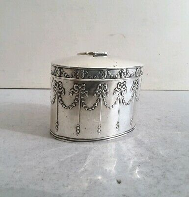 Pretty, Oval Embossed Antique Solid Silver Tea Caddy.    Ht.6Cms.    Birm. 1906.