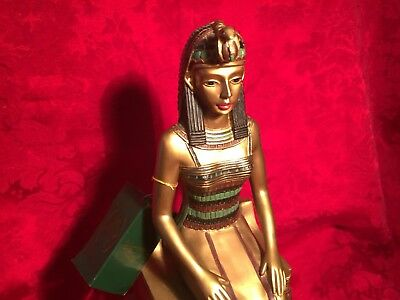 Large 1991 Egyptian Queen Nefertiti Mabrouk Imports On Gold Throne Figure