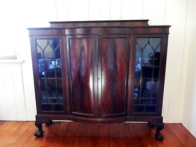 Superb Antique Victorian Mahogany Glass Display Cabinet Bow Front Gothic Doors