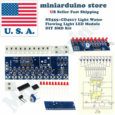 Ne555 Cd4017 Running Led Flow Light Electronic Production Suite Board Diy Kit Module Capacitor Control Oscillator Clock Siganal Integrated Circuits