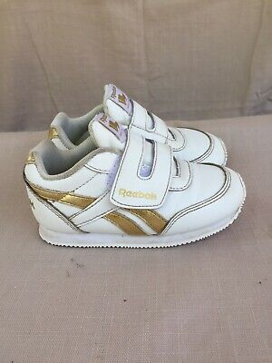 d05df75e920 Reebok ROYAL CLJOG 2 KC Classic White Gold Leather Toddler Shoes BS8028 S   817