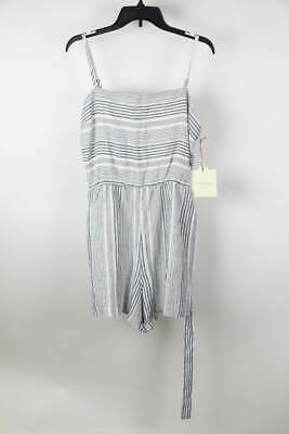 604285eb44d6 Cynthia Rowley White Black Striped Linen Sleeveless Belted Romper 12