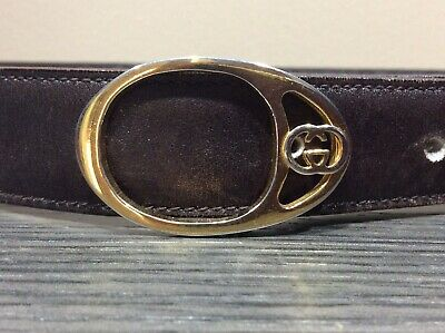 "VINTAGE Genuine Brown LEATHER GOLD Tone GUCCI BELT GG BUCKLE ITALY 34 "" Italy"