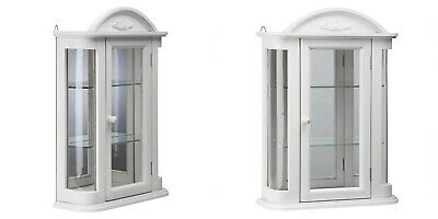 White Wall Display Curio Cabinet Glass Door Shelves Mirror Back Crown Pediment