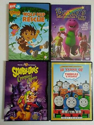 Children's DVD Movies Lot of 4 Barney, Diego, Scooby Doo, Thomas the Train