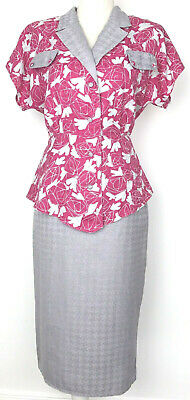 Vintage 1980s Pink & Grey Peplum Jacket & Skirt Suit M