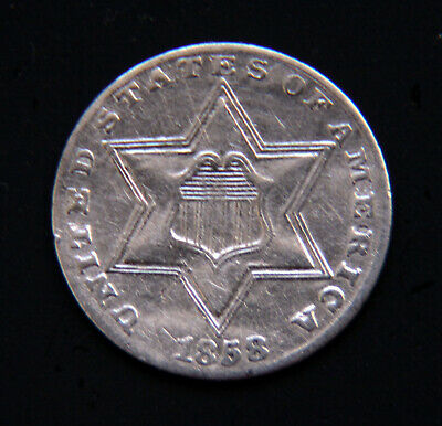 1858 Silver Three Cent Piece (Trime)