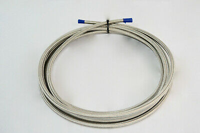 10 Feet Silver AN6 Nylon And Stainless Steel Braided Fuel Line Hose 2400 PSI