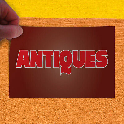 Decal Sticker Antiques #3 Vintage antiques Outdoor Store Sign Brown