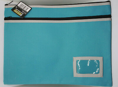 Osmer Pencil Case Large Blue 350 x 260 mm 2 black zips with name insert LOT 15