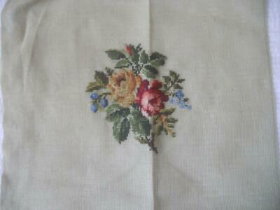 Vintage Printed Tapestry Canvas Roses Design Needs Background No Yarn Included