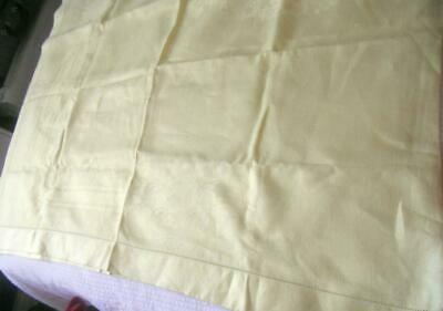 """Vintage Pastel Yellow Damask Linen Table Cloth Trailing Flowers 64"""" X 81"""""""
