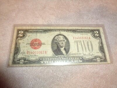 "(R) 1928-G $2 ""Red Seal"" Small United States  TWO DOLLAR BILL Note"